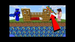 PopularMMOs Pat and Jen Minecraft: *CRAZY DEFENSE* NIGHT LUCKY BLOCK BEDWARS! - Modded Mini-Game