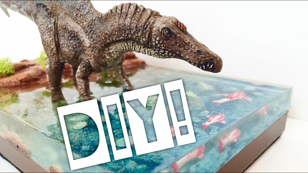 diy realistic dinosaur diorama with water effect youtube