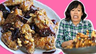 Making Maangchi's Crunchy Korean Fried Chicken Wings (Dakgangjeong: 닭강정) #UltraMess Challenge