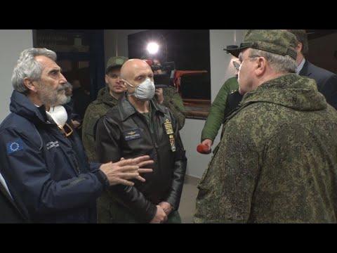 Прибытие самолетов ВКС России в Италию для оказания помощи в борьбе с коронавирусом