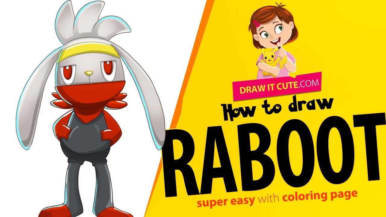 How To Draw Pokemon Raboot Super Easy With Coloring Page Youtube