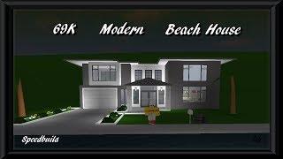 69K Modern Beach House | Roblox Bloxburg | Speedbuild | +Giveaway |