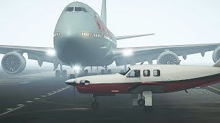 GTA 5 - Boeing 747 Collides With Small Aircraft on Runway (HD)