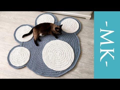 Вяжем коврик крючком из трикотажной пряжи   коврик-лапка