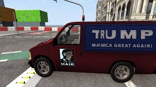 Spike Strip Testing 9 - Donald Trump Edition - BeamNG.Drive Car Accident
