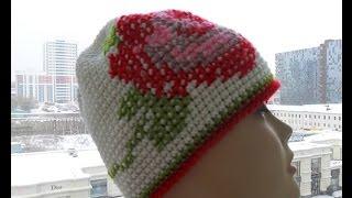 Как связать шапку с  подкладом и сделать вышивку (knitted cap) (Шапка #4)
