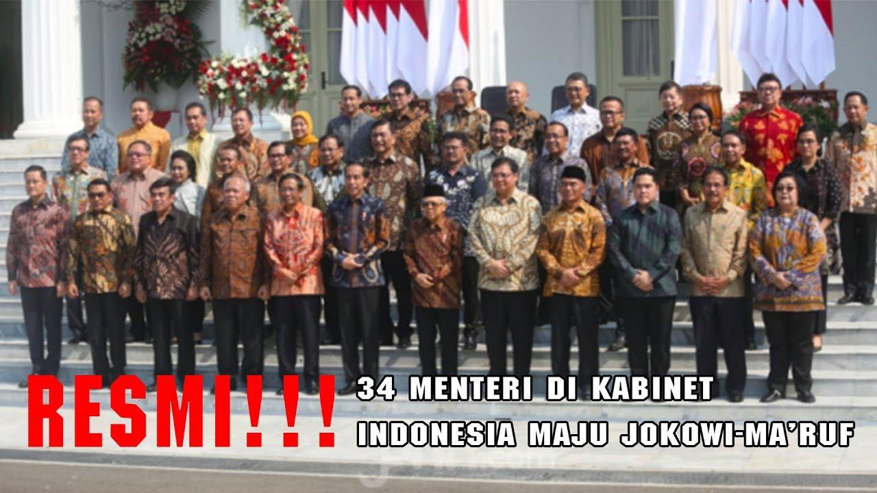 MP UPDATE: INI NAMA 34 MENTERI DI KABINET INDONESIA MAJU JOKOWI-MA'RUF