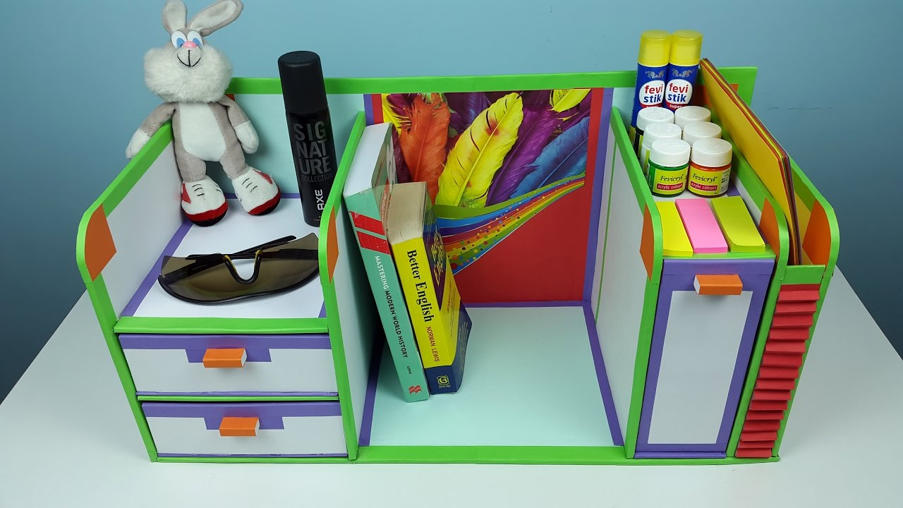 DIY desk organizer drawer organizer from cardboard  YouTube