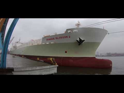 Orange juice tanker arrival/departure Santos, Brazil | HD