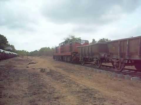 Sri Lanka Railways - Two limestone trains crossing at Karadipooval