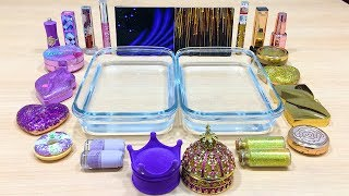 PURPLE vs GOLD! Mixing Makeup Eyeshadow into Clear Slime! Special Series #520 Satisfying Slime Video