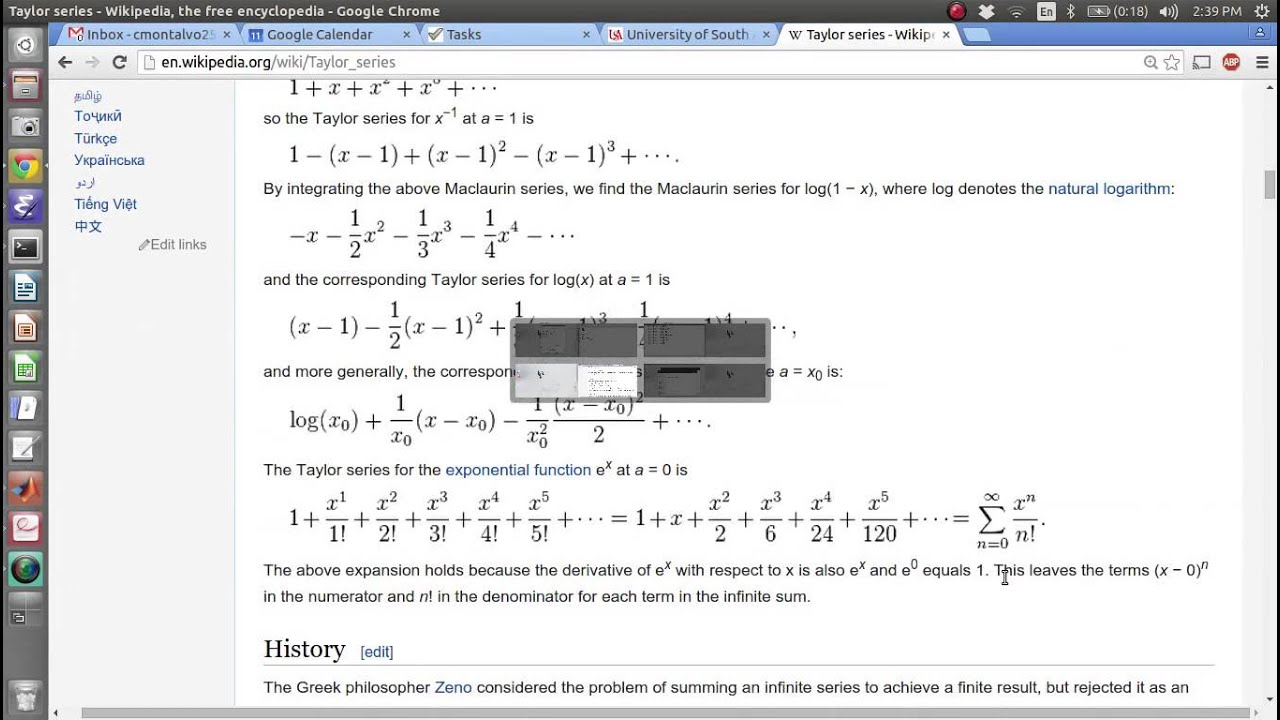 matlab code for taylor series