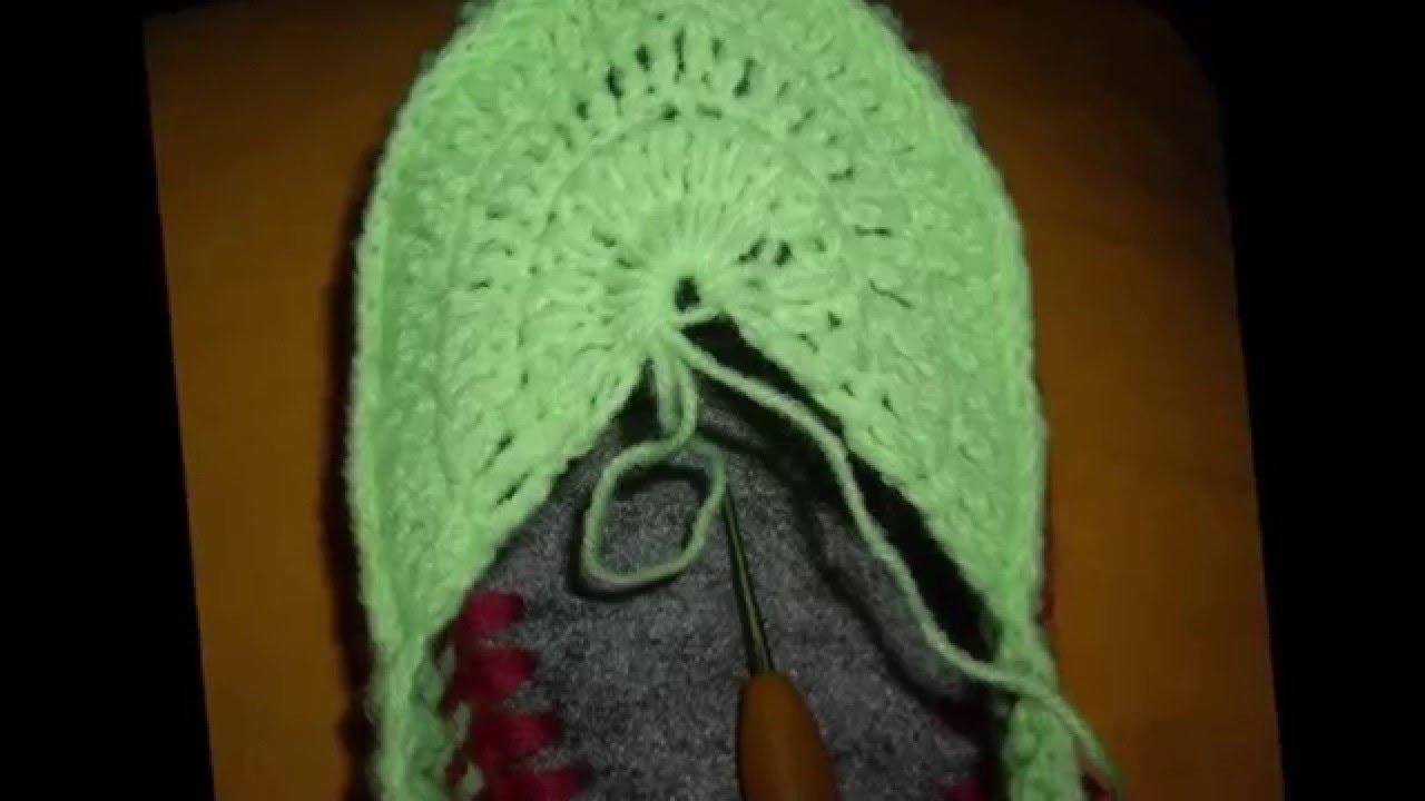 Сапожки - вязание крючком. Схема ажурного узора ананас /// Boots .