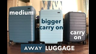 AWAY LUGGAGE Which size is for YOU? | Carry on, Bigger Carry On, Medium | This or That
