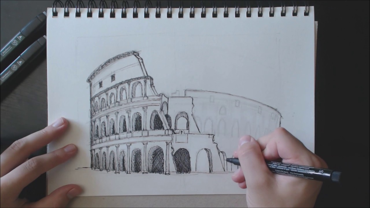 Drawing The Colosseum In Rome Timelapse Youtube