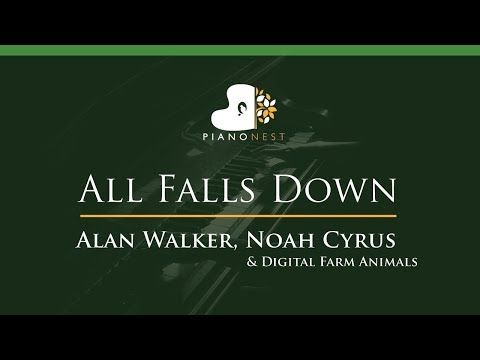 Alan Walker, Noah Cyrus - All Falls Down - LOWER Key (Piano Karaoke / Sing Along)