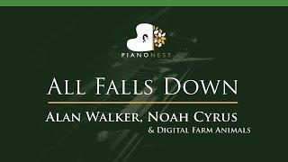 Video Alan Walker, Noah Cyrus - All Falls Down - LOWER Key (Piano Karaoke / Sing Along) download MP3, 3GP, MP4, WEBM, AVI, FLV September 2018