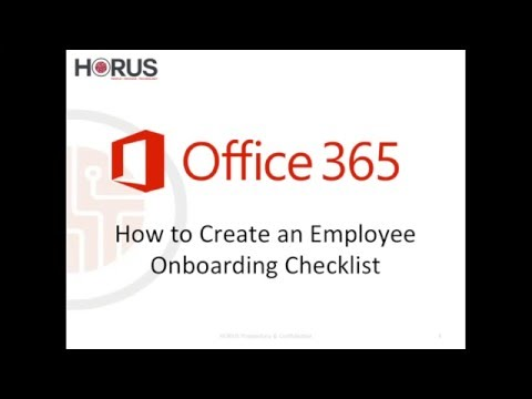Employee On-Boarding Checklist Using Office 365 and SharePoint