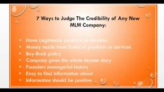 How To Judge The Credibility of Any New MLM Company