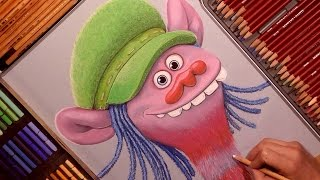 Drawing Trolls (Cooper) Cartoon Character from Trolls Cartoon. Soft Pastel.