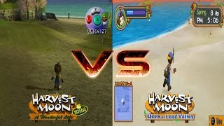 Harvest Moon A Wonderful Life vs Hero of Leaf Valley Graphic Comparison