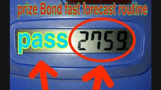 Prize Bond fast single forecast routine City Hyderabad Bond 15000