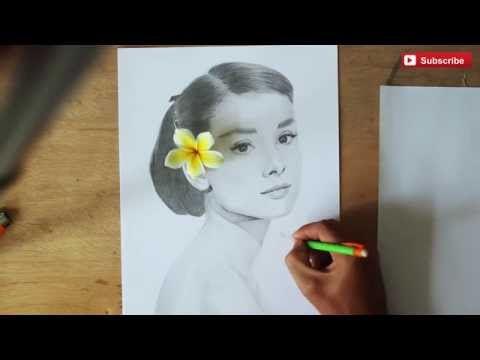 HOW TO DRAW FACE of AUDREY HEPBURN - DRAWING