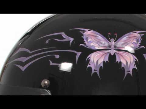 X197 Outlaw DOT Glossy Black Purple Butterfly Women's Helmet At LeatherUp.com