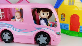 Baby doll food car and camping kitchen toys play house story - ToyMong TV 토이몽