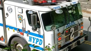 NYPD Emergency Service Squad Adam 2 Truck 2 Responding On The West 65th Street Transverse In Cen Par