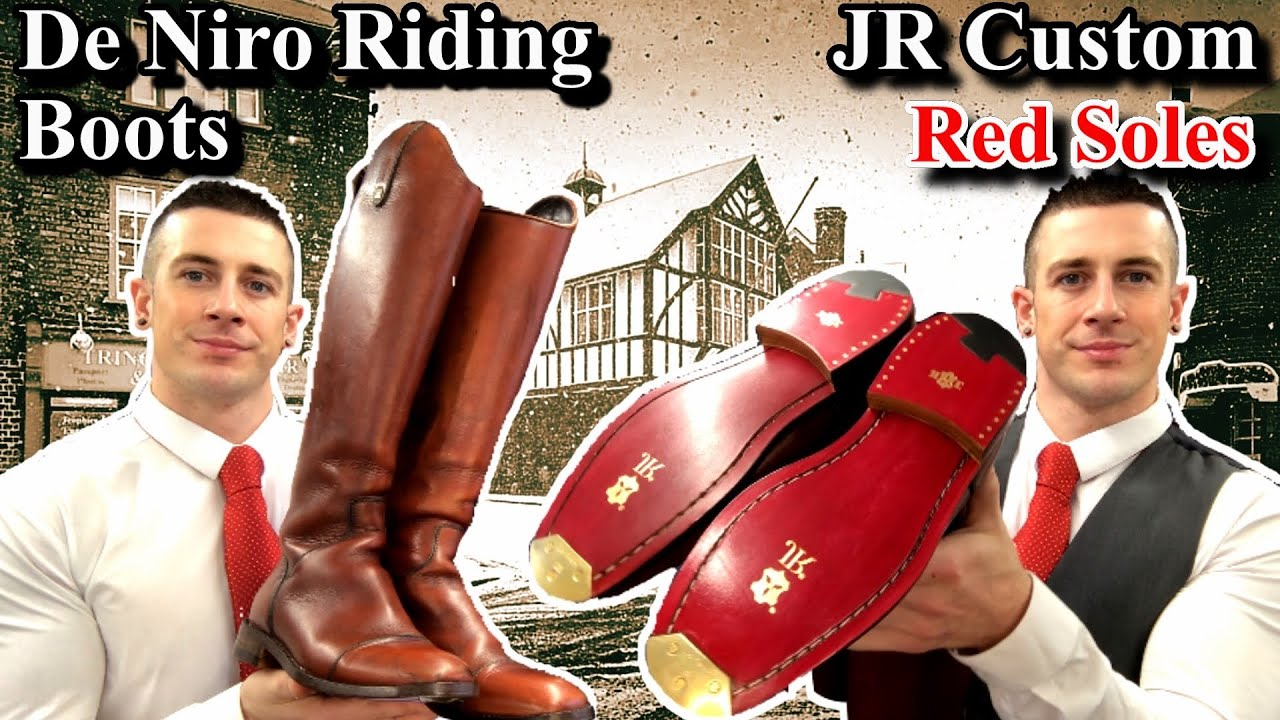 De Niro Riding Boots | JR Red Leather Soles | Triumph Toe Plates!