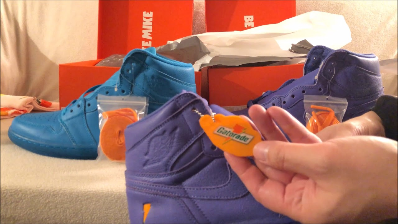 e85127c0636 Quick Unboxing Air Jordan 1 Retro HI OG Gatorade Cool Blue   Grape ...