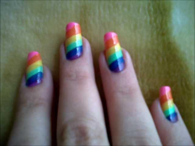 diseño de uñas de cebra arcoiris muy facil