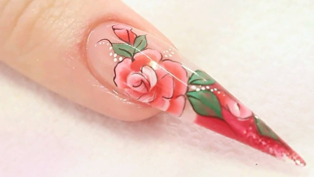 Rose Acrylic Nail Design Tutorial - YouTube