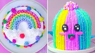 Most Satisfying Rainbow Cake Decorating Ideas  So Yummy Cake Recipes  Easy Colorful Cake Videos