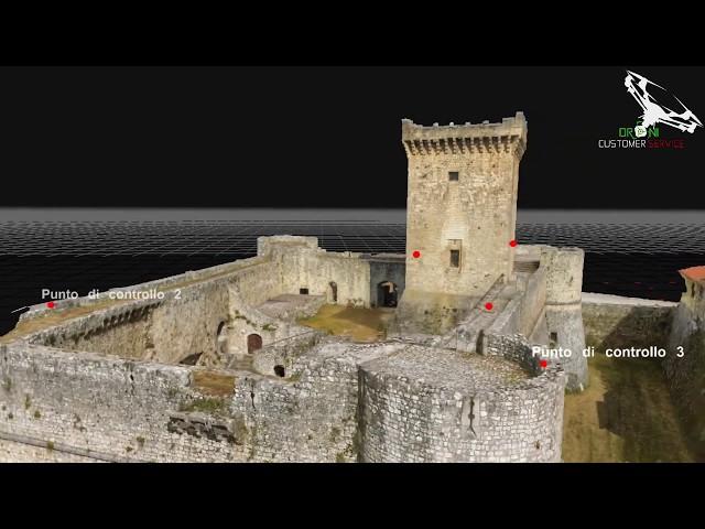 animazione 3d Castello Ortucchio, fotogrammetria aerea