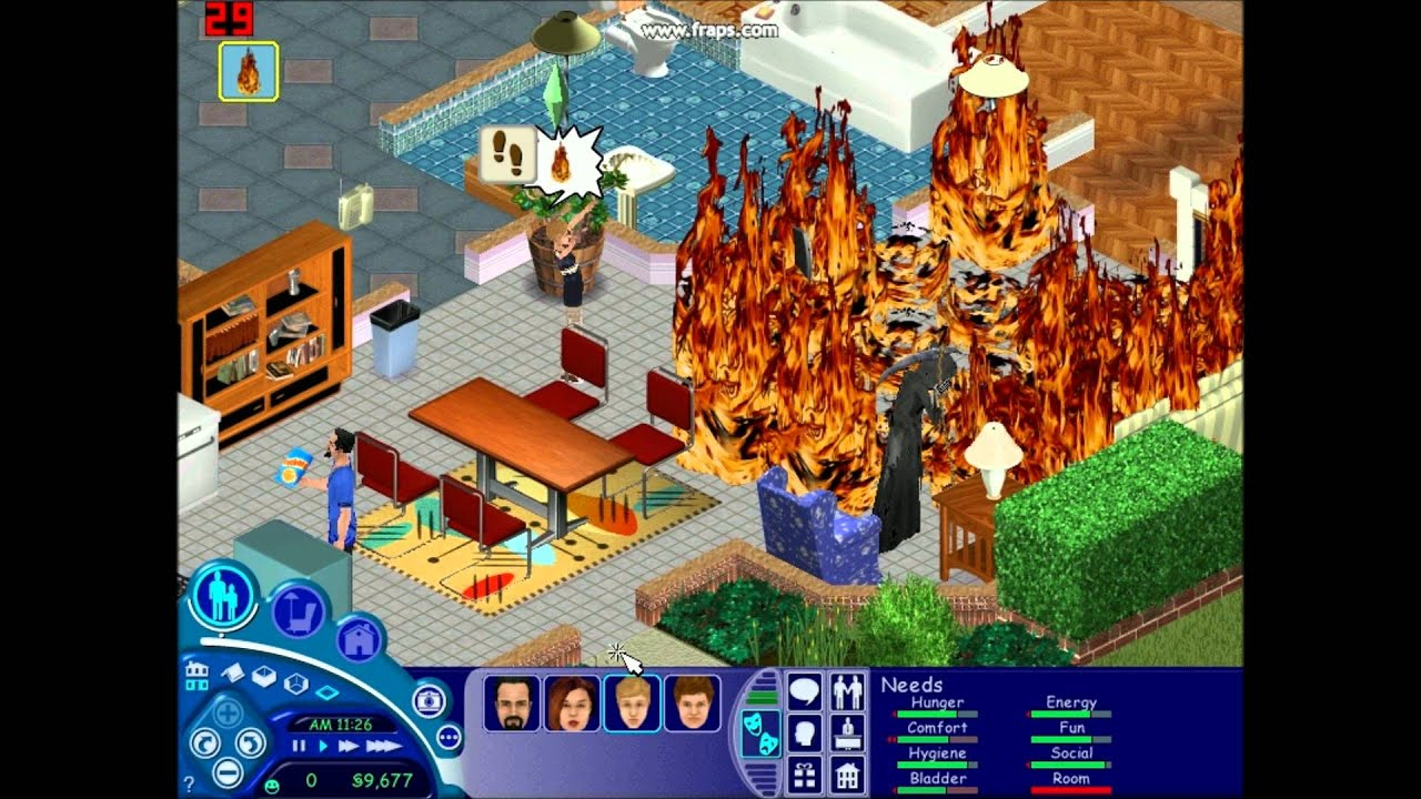 the sims 1 house fire youtube. Black Bedroom Furniture Sets. Home Design Ideas