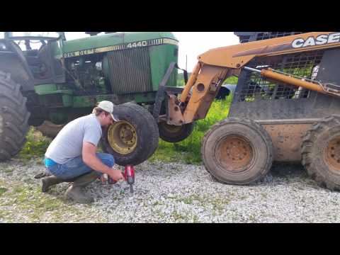 Changing the old 4440 front tractor tire (do not attempt this at home)
