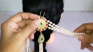 Bridal hair accessories making with pearl beads