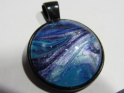 Acrylic Pouring DIY Jewelry Bezels Necklaces  (109)