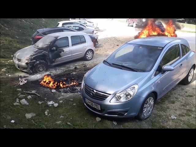 Požar vozila na parkirišču Jezerca - Krvavec, 27. 8. 2017, PGD Cerklje
