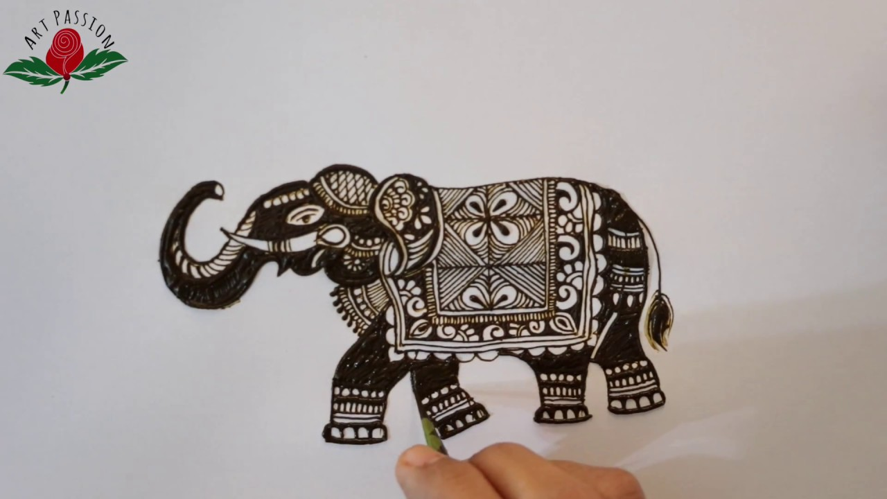 Latest Reverse Style Elephant For Bridal Mehndi Design And Tattoo