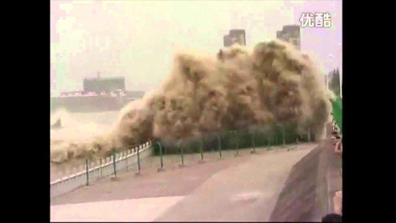 20 Meters High : Typhoon triggers meter high massive wave in qiantang