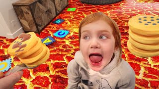 DON39T BURN MY FOOD Adley plays a Pancake and the Floor is Lava Challenge a new hide n seek game