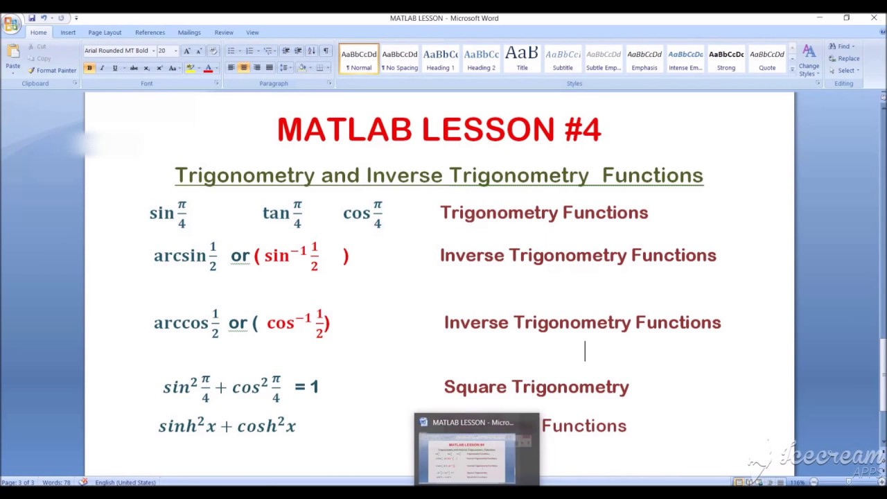 MATLAB Tutorial#4 How to use Trigonometry Functions in MATLAB command window - YouTube
