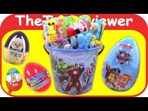2018 Boys Easter Basket Surprise Eggs Candy Bucket DIY Haul Unboxing Toy Review by TheToyReviewer