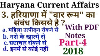 Haryana Current Affairs 2018 | Part-4 | HSSC Group D | Haryana Police | HCS 2018