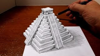 Drawing a Mayan Pyramid - Optical Illusion