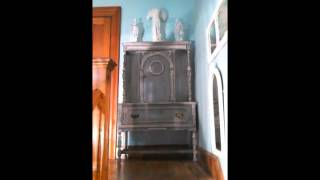 French Distressed Grey China Cabinet - Vintage Chic Furniture.com