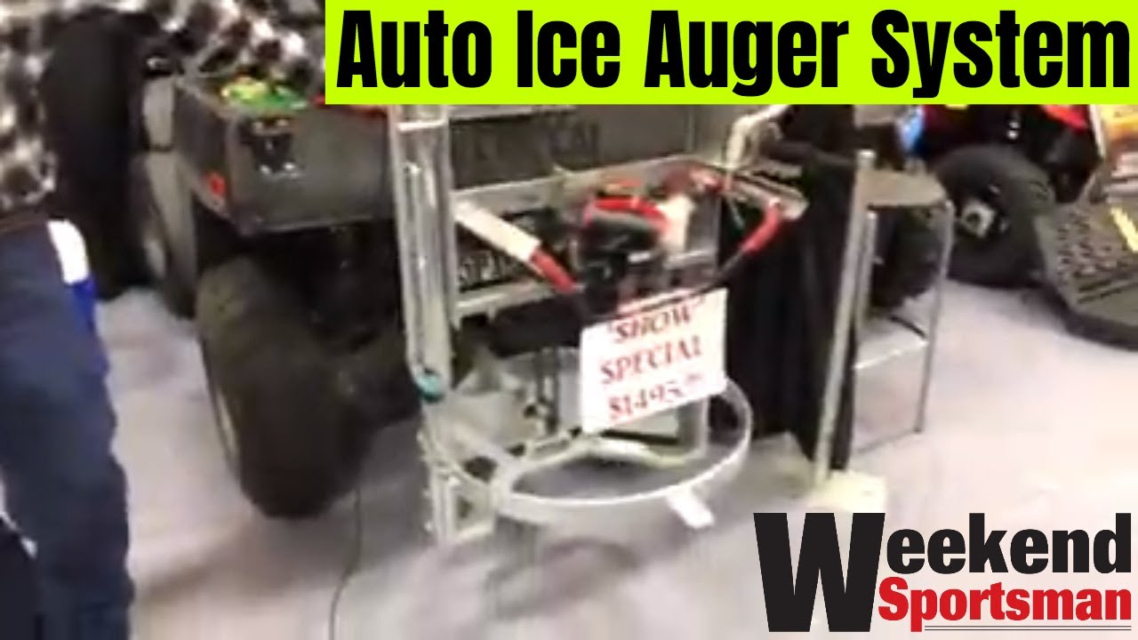 Auto Ice Auger Drill Mounted On Atv 4 Wheeler For Easier Ice Fishing Weekend Sportsman